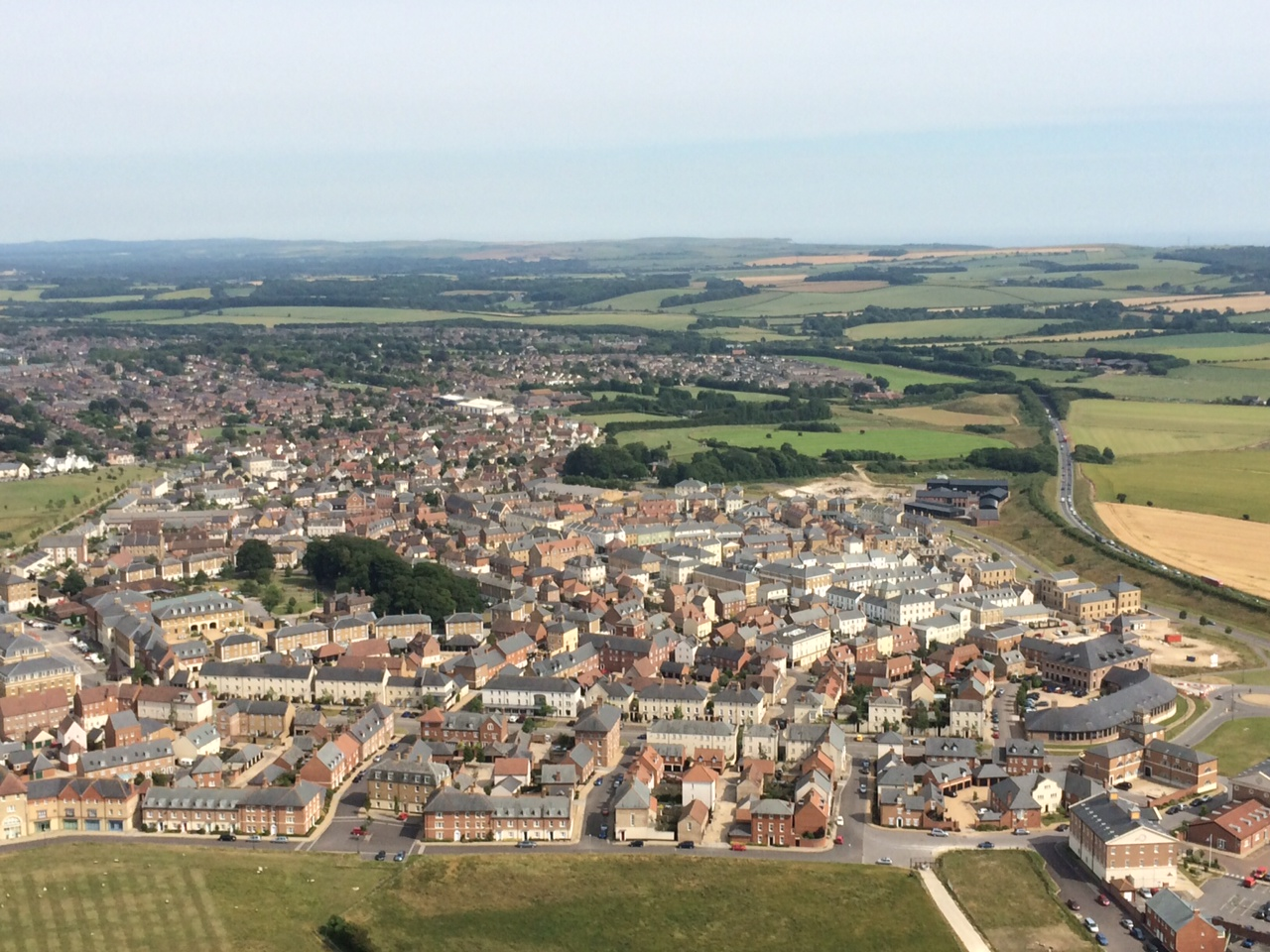 Aerial view of the new town of Poundbury, Dorset, UK