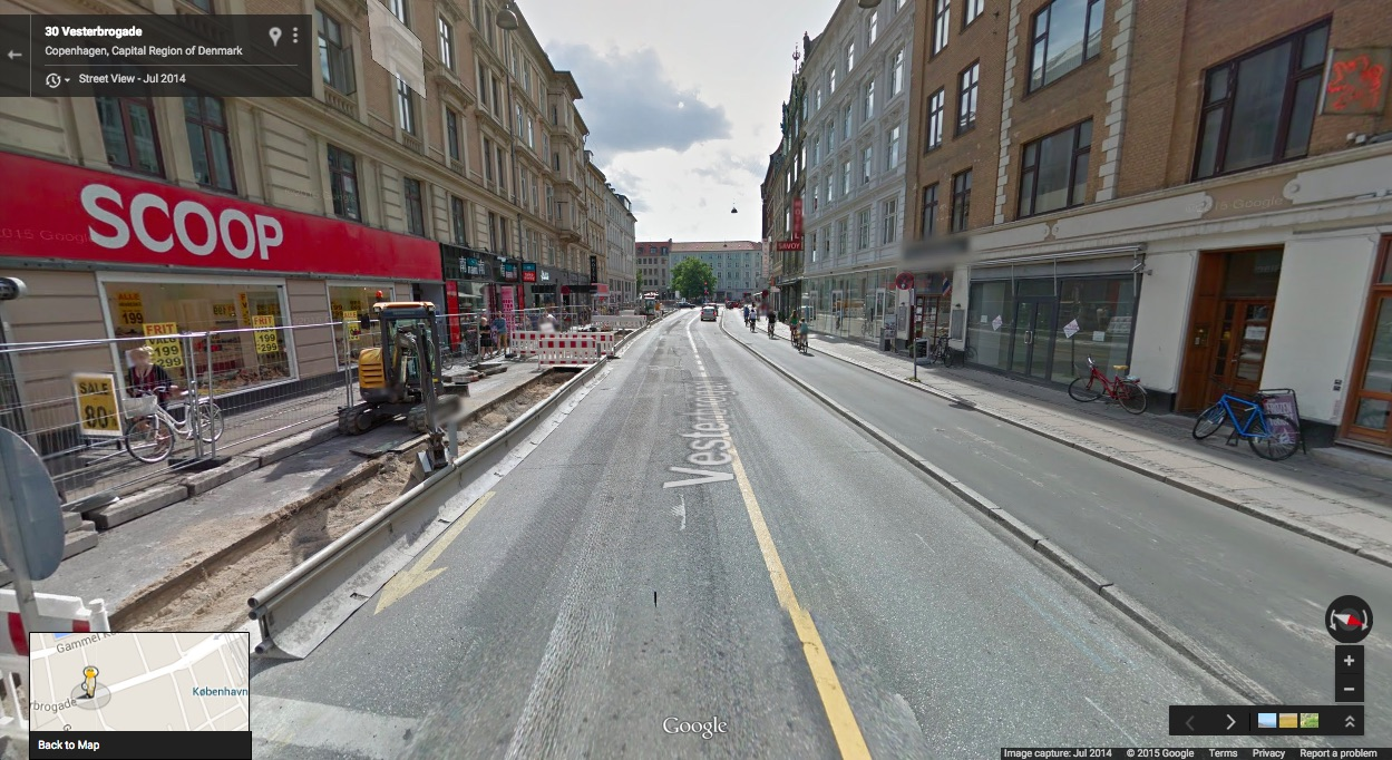 Vesterbrogade, Copenhagen. A recent view showing the typical Copenhagen Lane under construction.